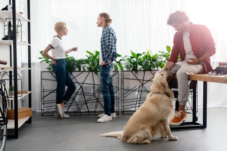 young man stroking dog while colleagues talking near window in office