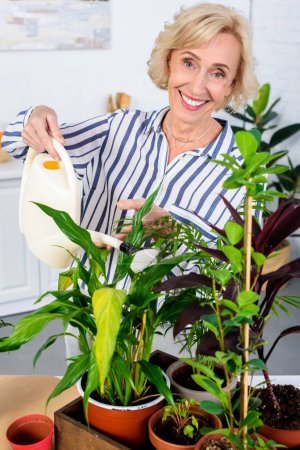 happy senior woman watering houseplants and smiling at camera