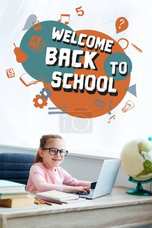 "Adorable kid in eyeglasses smiling at camera while studying with laptop at home with ""welcome back to school"" lettering and icons"