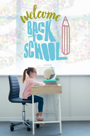 little schoolgirl studying with books and laptop at home with welcome back to school lettering and pencil illustration
