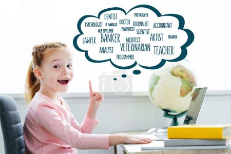 Photo for Cheerful redhead child studying with books and laptop and pointing up on words of different professions in speech bubble - Royalty Free Image