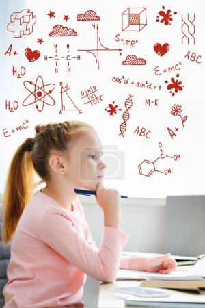 side view of thoughtful schoolgirl holding pen and looking away while studying at home, with chemistry icons