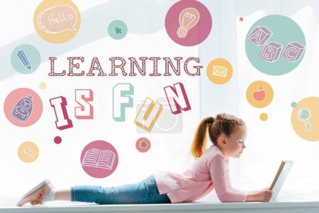 "cute little schoolgirl reading book and lying on windowsill with icons and ""learning is fun"" lettering"