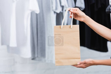 cropped image of woman holing paper bag in clothing design studio