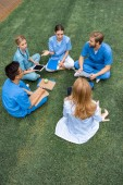 high angle view of teacher having lesson with multiethnic students at medical university on green grass