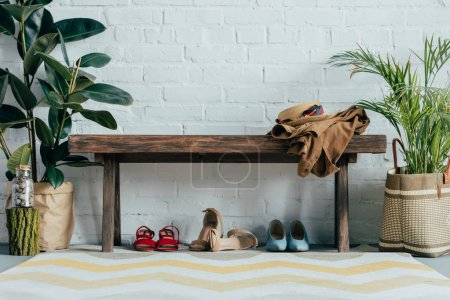 different shoes under wooden bench in corridor at home, potted palm tree and ficus on floor