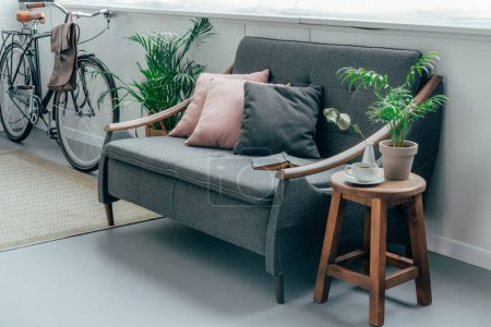 grey sofa with pillows, bicycle near wall in living room