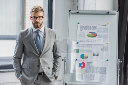 handsome young businessman in suit and eyeglasses standing with hands in pockets and looking at camera in office