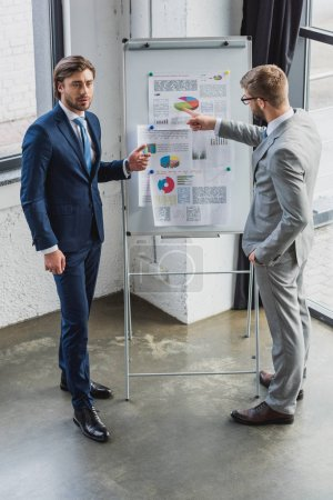 high angle view of businessmen standing near whiteboard and discussing business charts
