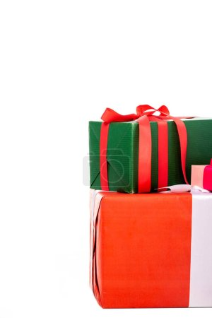 close up view of gift boxes isolated on white background