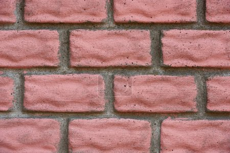 Photo for Close-up view of old red weathered brick wall, textured background - Royalty Free Image