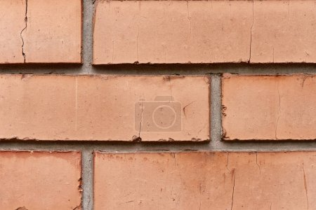 close-up view of red brick wall textured background