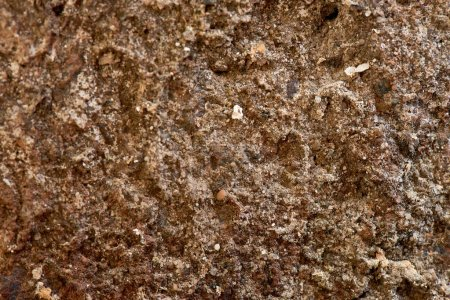 close-up view of old brown weathered wall texture