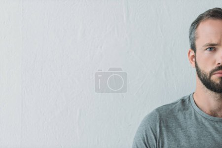cropped shot of serious bearded man looking at camera on grey
