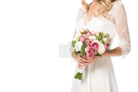 Photo for Cropped shot of bride holding beautiful bouquet isolated on white - Royalty Free Image