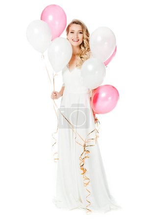 attractive young bride with pink and white balloons isolated on white