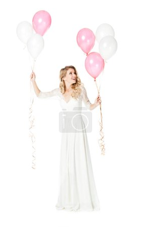 happy young bride with pink and white balloons isolated on white