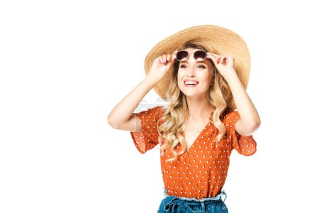 Photo for Portrait of young cheerful woman in straw hat and sunglasses laughing isolated on white - Royalty Free Image