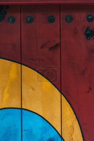 full frame shot of vivid wooden wall for background