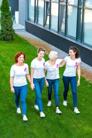 smiling women with breast cancer awareness ribbons walking together on green lawn