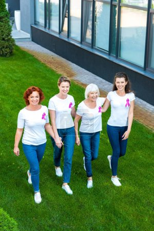 high angle view of smiling women with breast cancer awareness ribbons walking together on green lawn