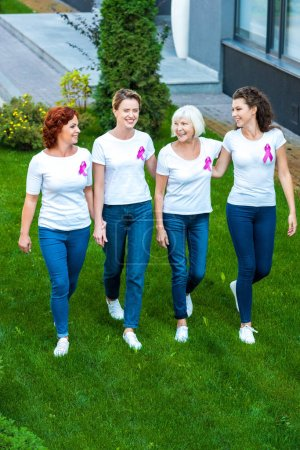 high angle view of four women with breast cancer awareness ribbons walking together on green lawn