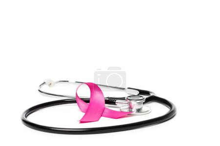close-up view of pink breast cancer awareness ribbon and stethoscope isolated on white