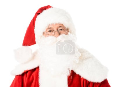 Photo for Close-up portrait of santa claus looking at camera isolated on white - Royalty Free Image