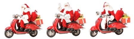collage of santa claus riding vintage red scooter in various poses isolated on white