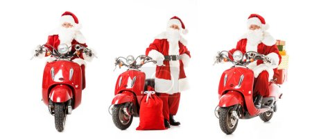 collage of santa claus with vintage red scooter in various poses isolated on white