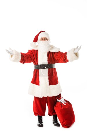 Photo for Emotional santa claus with sack gesturing with hands isolated on white - Royalty Free Image