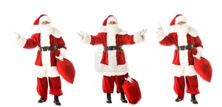 collage of gesturing santa claus with sack in various poses isolated on white