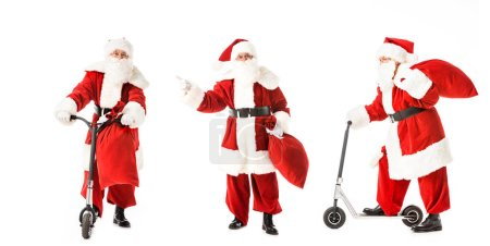 collage of santa claus with sack and scooter in various poses isolated on white