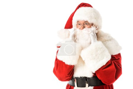 Photo for Santa claus shouting through hands isolated on white - Royalty Free Image