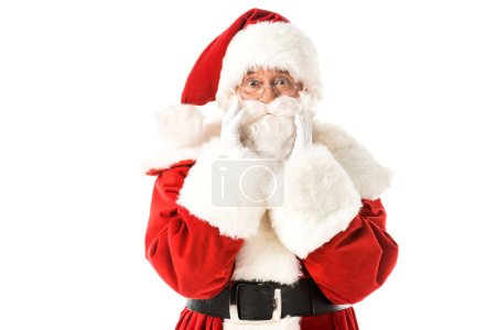 Photo for Santa claus looking at camera shouting through hands isolated on white - Royalty Free Image