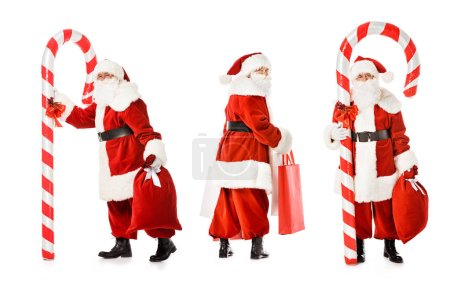 collage of santa claus with candy cane and shopping bags in various poses isolated on white