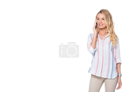 woman with blonde hair talking on smartphone isolated on white