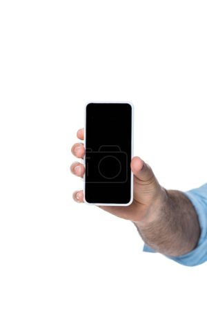 man holding gadget with blank screen isolated on white