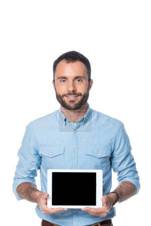 smiling man holding digital tablet isolated on white