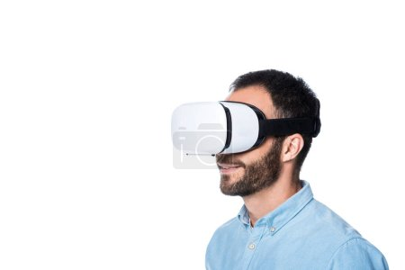 bearded man using vr technology isolated on white