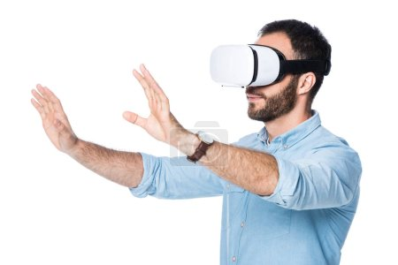 side view of man using vr technology isolated on white
