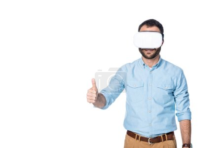 man using vr technology and showing thumb up isolated on white