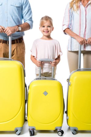 happy family with luggage isolated on white