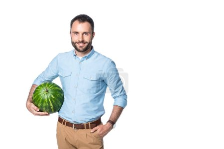 smiling man holding watermelon isolated on white
