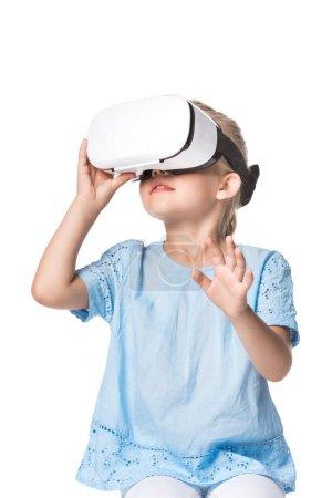 child using virtual reality headset isolated on white