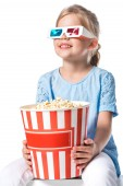 kid with 3d glasses and popcorn isolated on white