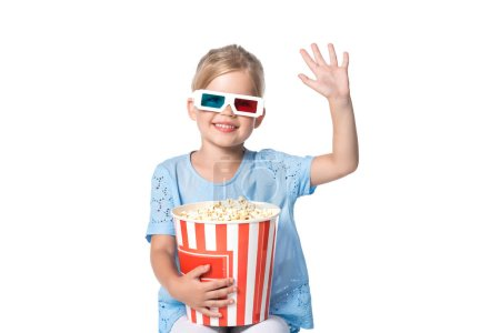child with 3d glasses and popcorn isolated on white