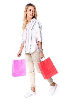 Photo for Woman with shopping bags isolated on white - Royalty Free Image