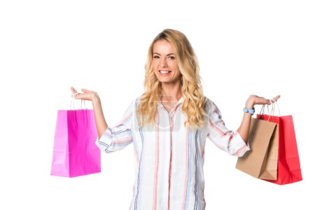 woman with blonde hair and shopping bags isolated on white