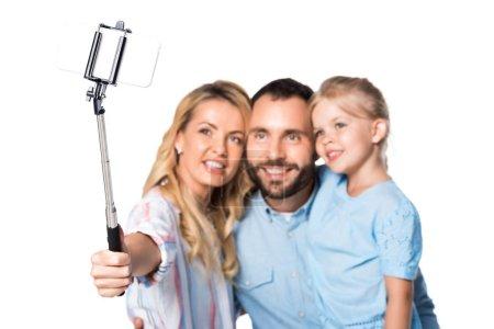 Photo pour Héhé, prenant selfie isolé sur blanc - image libre de droit